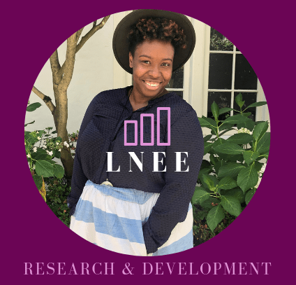 "Black woman smiling with ""LNEE"" company logo overlay"