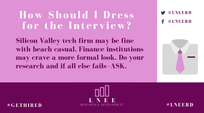Pink and magenta Lnee R&D inforgraphic about how to dress for a job interview