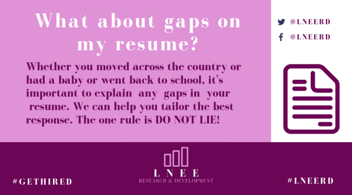 Pink and magenta Lnee R&D inforgraphic about gaps in a resume