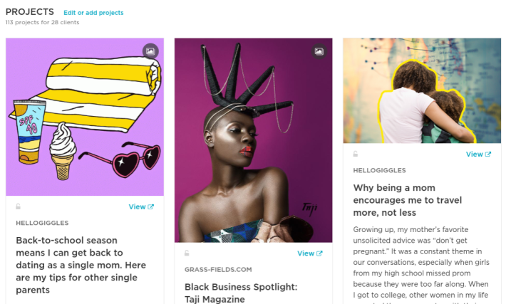 screenshot of Africa Jackson's contently page with three photos of Black people and article snippets