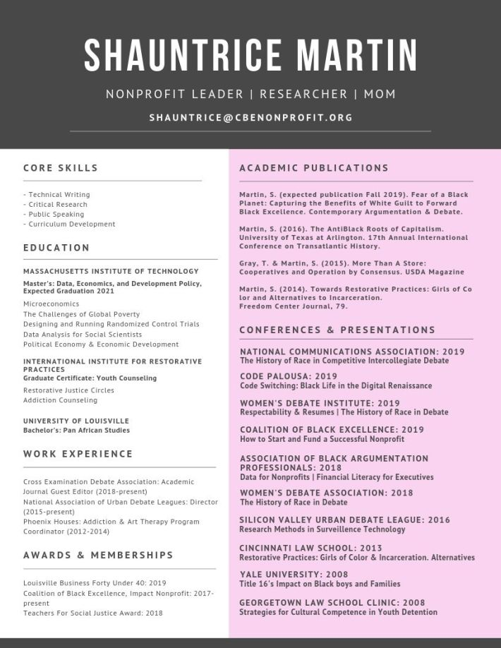 pink, white, and charcoal gray professional curriculum vitae for Lnee R&D CEO Shauntrice Martin